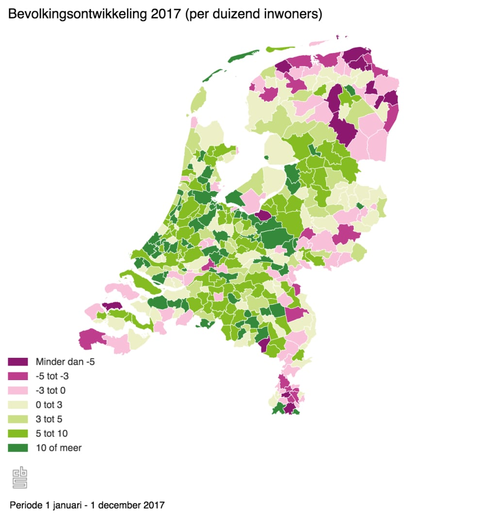 Bevolkingsontwikkeling 2017 Per Duizend Inwoners